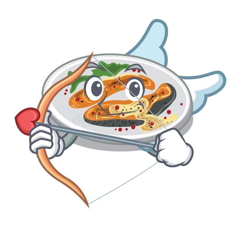 Amor grillte die Lachse, die im Maskottchen lokalisiert wurden vektor abbildung