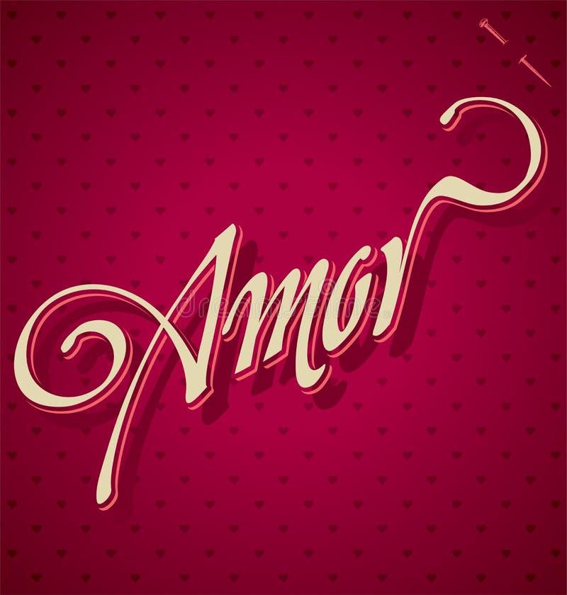 AMOR hand lettering (vector) stock illustration