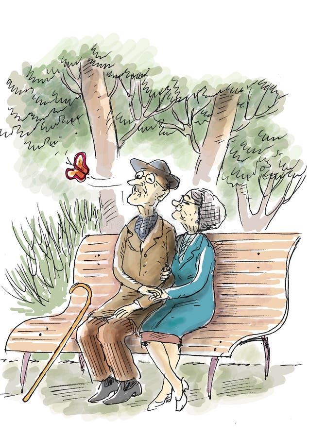 Amor idoso ilustração royalty free
