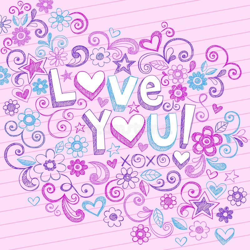 Amor incompleto abstracto a mano que usted Doodles stock de ilustración