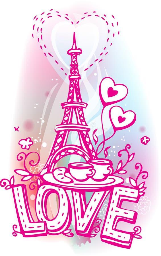 Amor incompleto con la torre Eiffel stock de ilustración