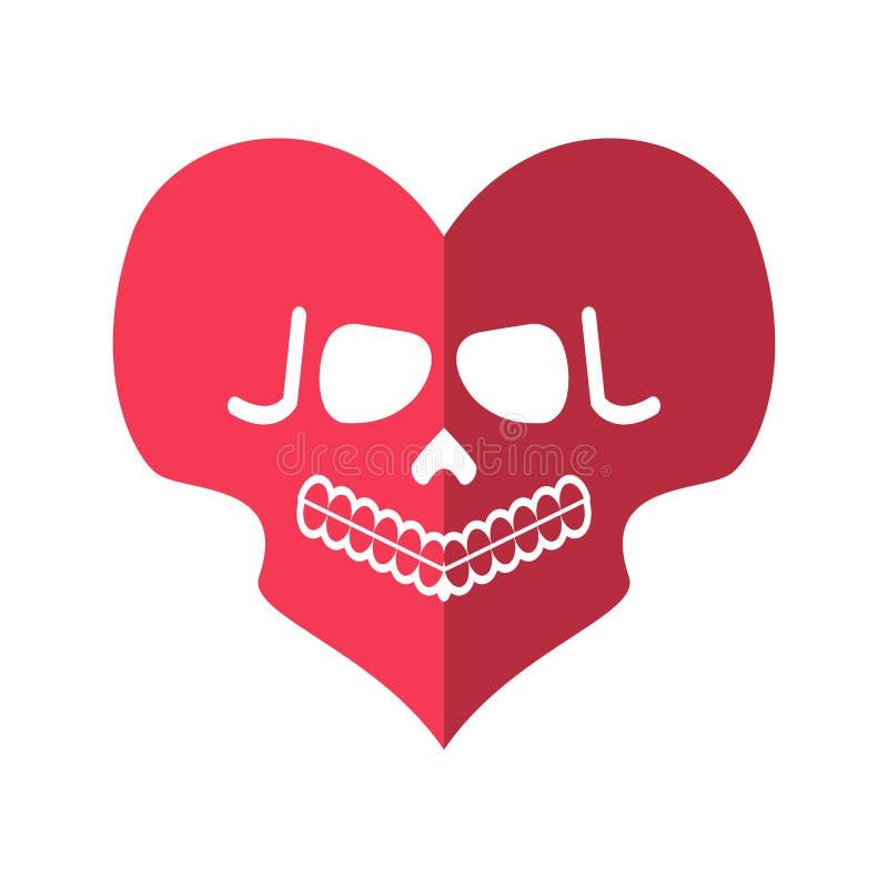 Amor inoperante Coração dos crânios Emblema mortal do cupido ilustração royalty free