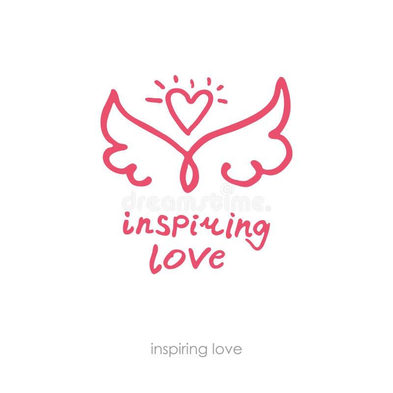 Amor inspirador Logotipo positivo exhausto de la mano Línea alas y corazón del arte stock de ilustración