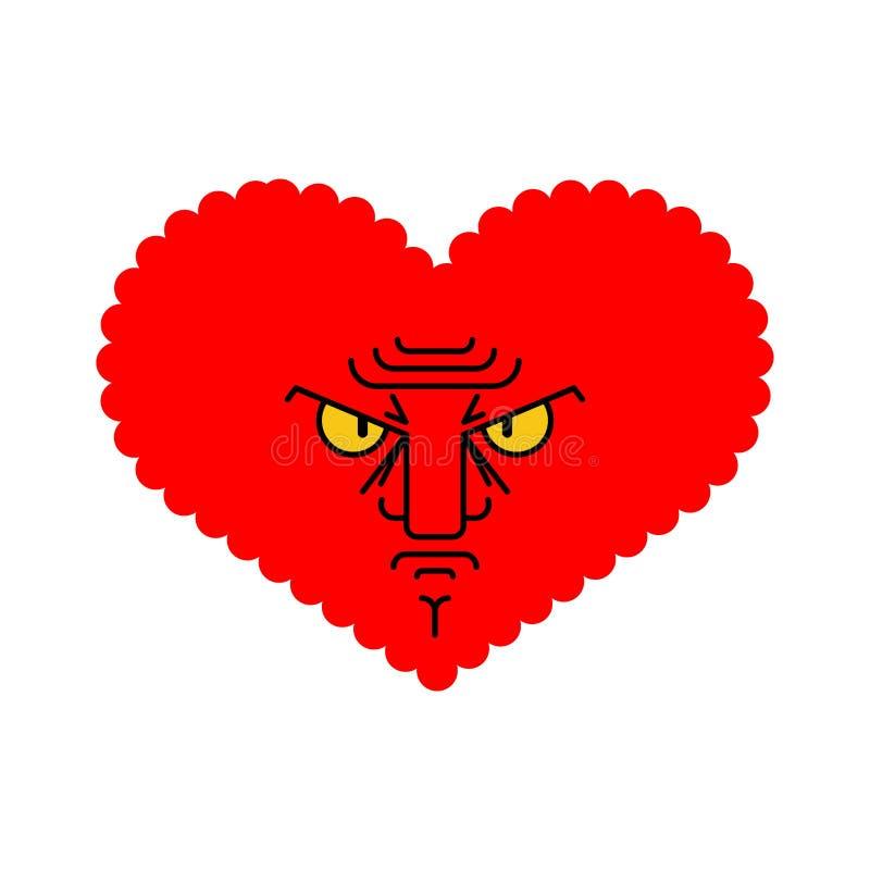 Amor irritado Cora??o mau Amur descontentado Ilustra??o do vetor ilustração stock