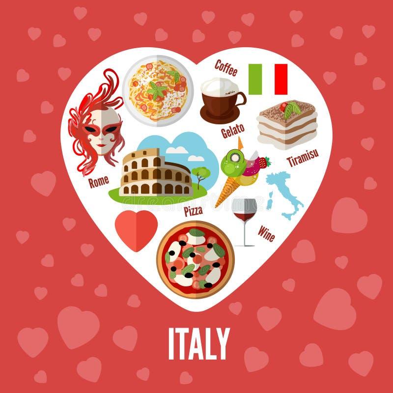 Amor italiano - forma del corazón con los iconos ilustración del vector