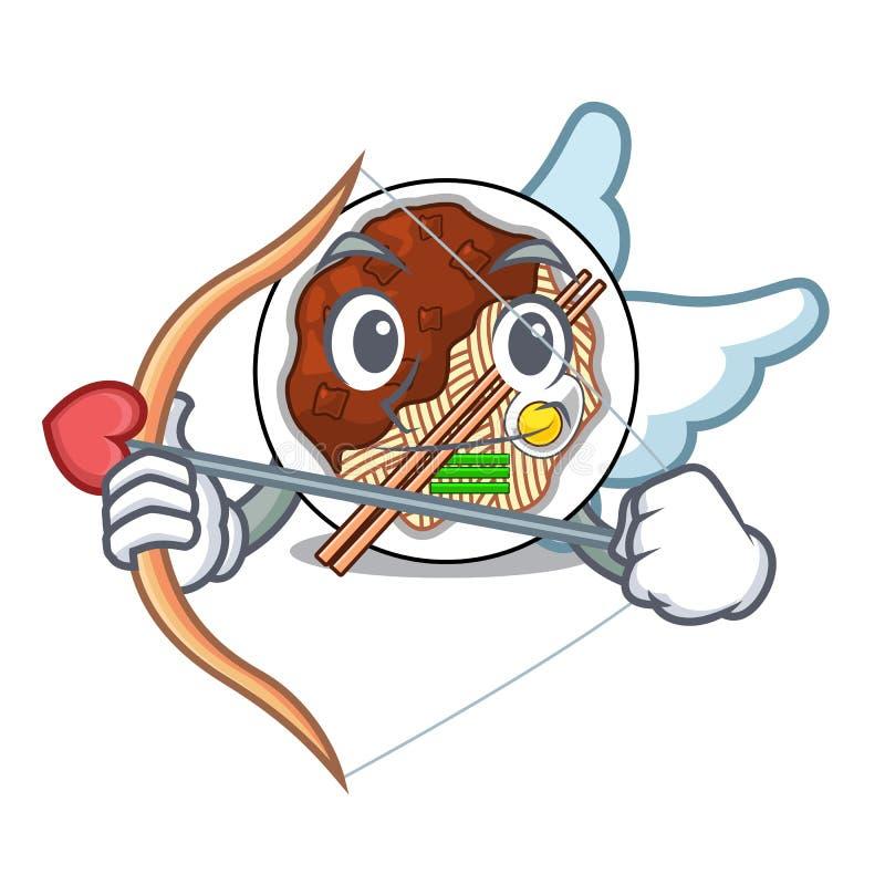 Amor jajangmyeon lokalisiert mit der a-Karikatur stock abbildung
