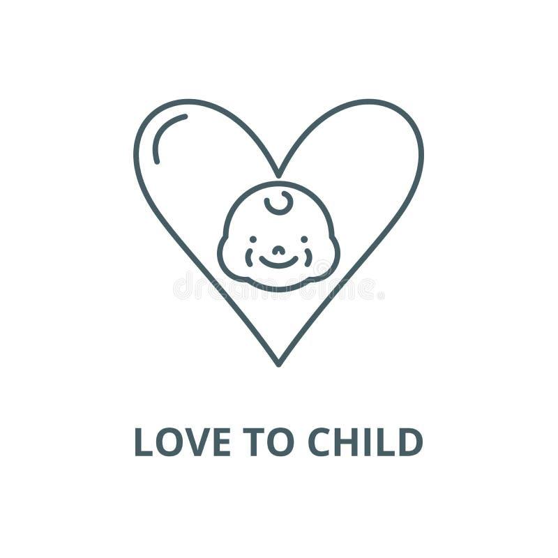 Amor a la línea icono, concepto linear, muestra del esquema, símbolo del vector del niño ilustración del vector