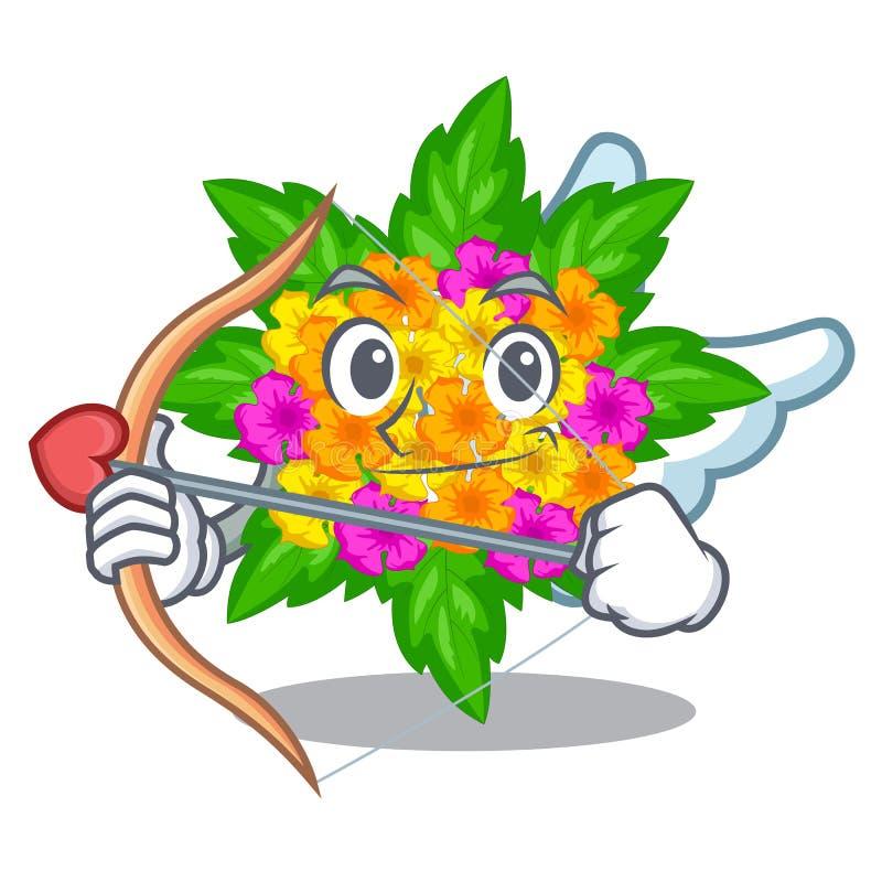 Amor Lantanablumen in den Maskottchentöpfen stock abbildung