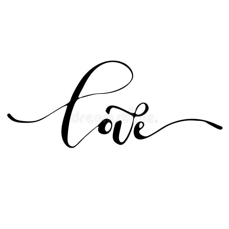 Amor - lema romántico inspirado de la tinta a pulso stock de ilustración