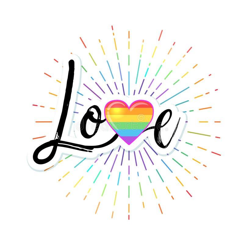 Amor Letras dibujadas mano con el corazón coloreado arco iris El derecho de los homosexuales ilustración del vector