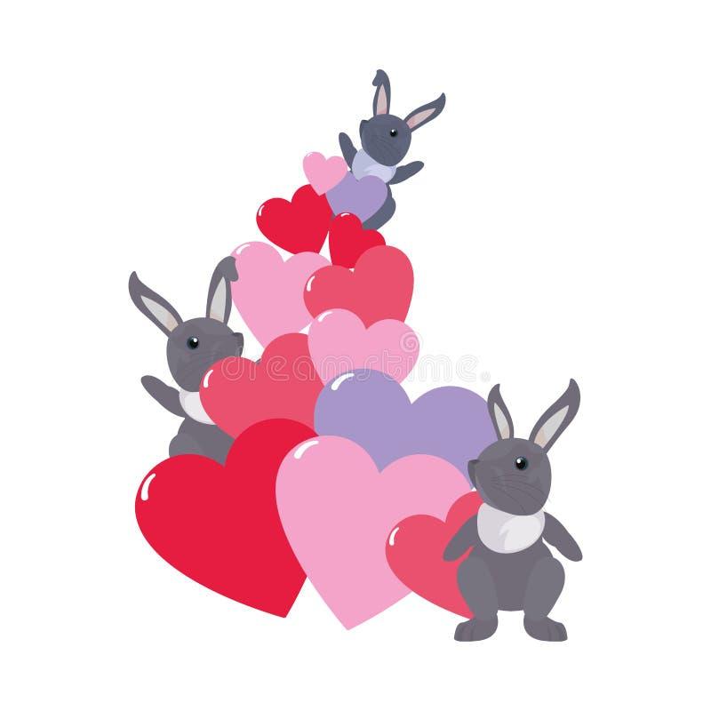 Amor lindo de los corazones de los conejos libre illustration