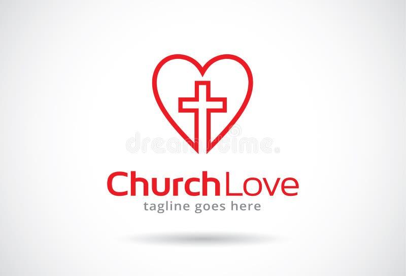 Amor Logo Template Design Vector, emblema, concepto de diseño, símbolo creativo, icono de la iglesia stock de ilustración