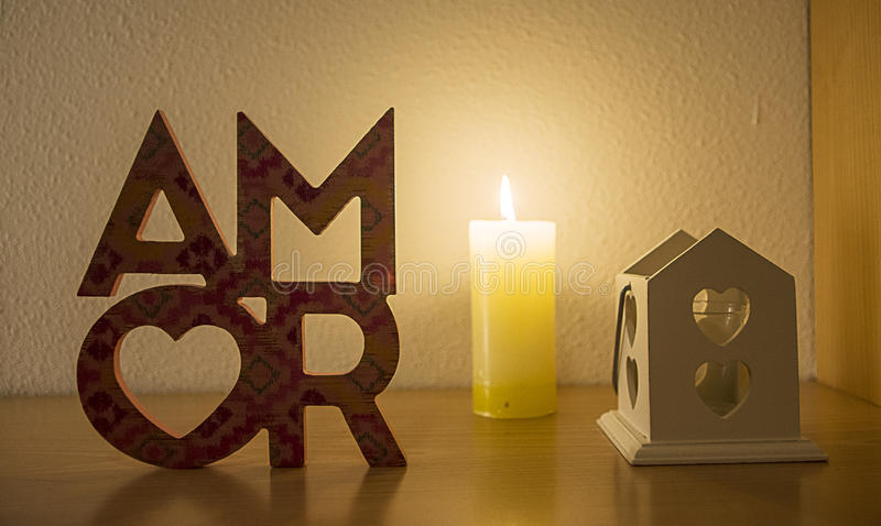 Amor, love with flame and hearts stock images