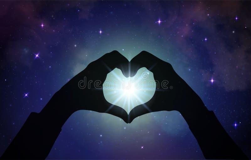 Amor mágico que cura a energia universal, mãos do coração ilustração royalty free
