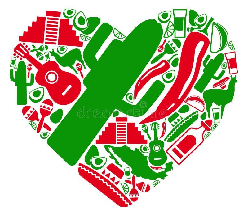 Amor a México ilustração stock