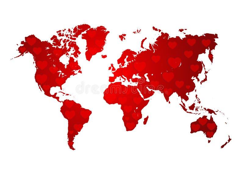 Amor, mapa del mundo con los corazones rojos stock de ilustración