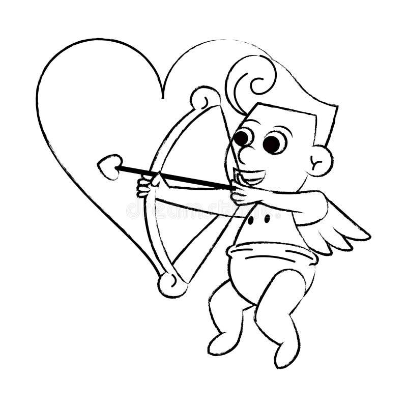 Amor mit Bogen auf Herzskizze stock abbildung
