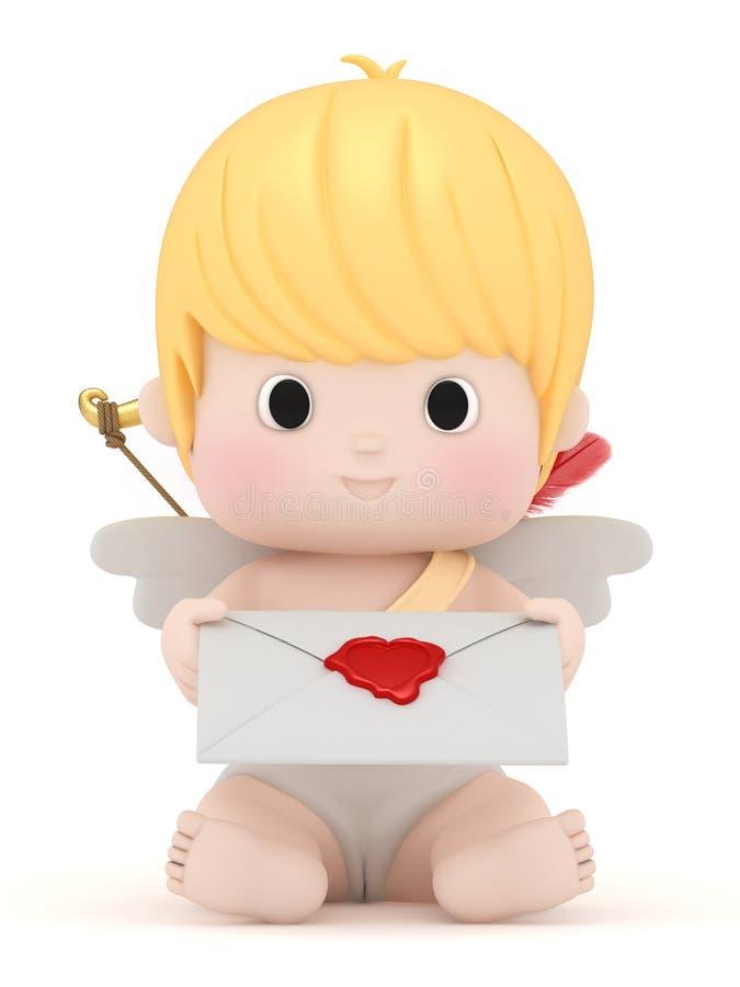 Amor mit dem Anhalten eines Liebesbriefs stock abbildung