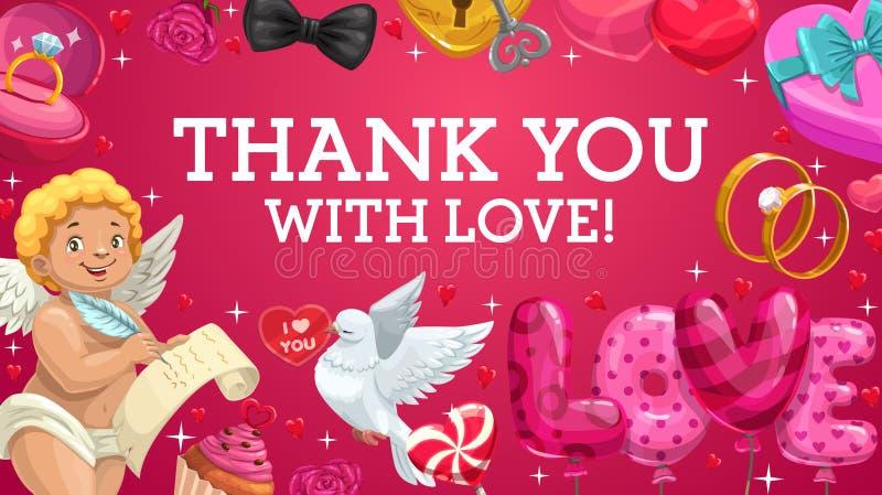 Amor mit Liebesherzen, -geschenken, -ringen und -ballonen lizenzfreie abbildung