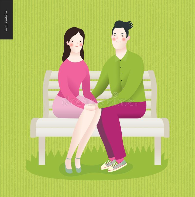 Amor, mola, banco - um par no amor ilustração royalty free