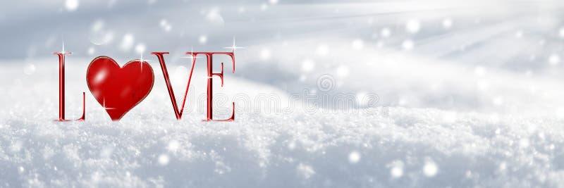 Amor na neve ilustração stock