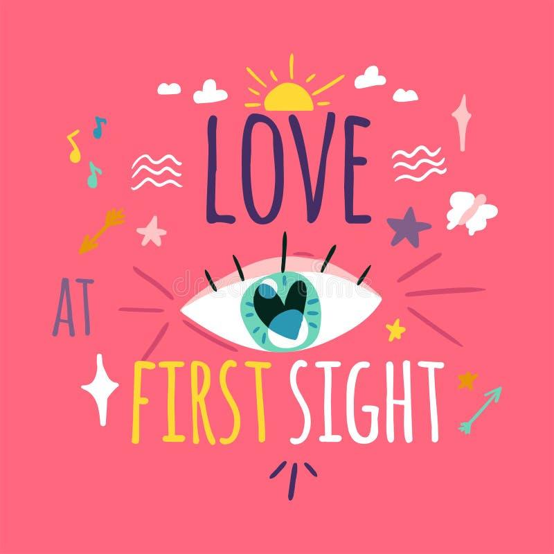Amor na primeira disposição de cartão da vista ilustração royalty free