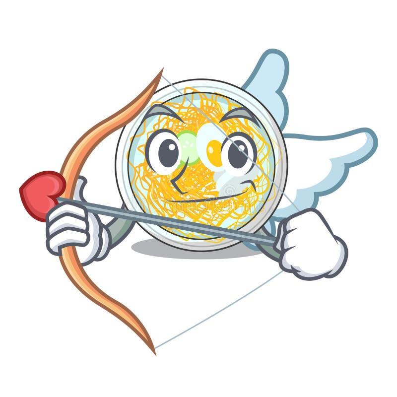 Amor naengmyeon diente auf einem Maskottchenbrett lizenzfreie abbildung