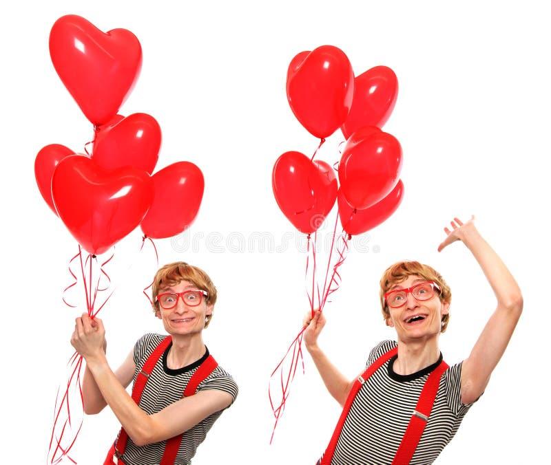 Amor nerdy doble imágenes de archivo libres de regalías