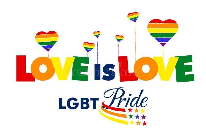 Amor no orgulho do amor LGBT ilustração royalty free