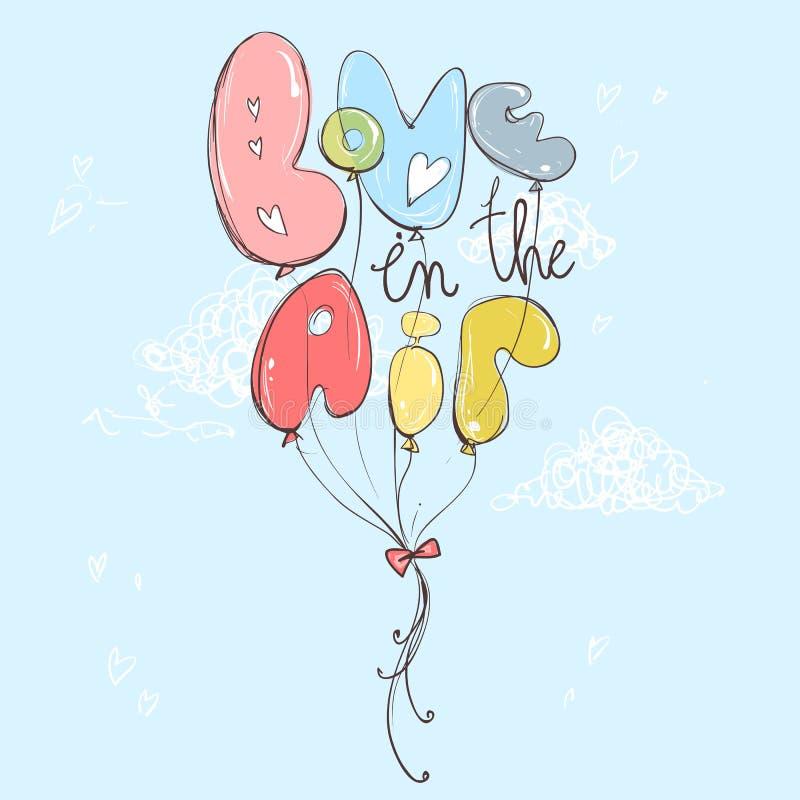 Amor nos ballons do ar Mão romântica ilustração tirada, pasta ilustração do vetor