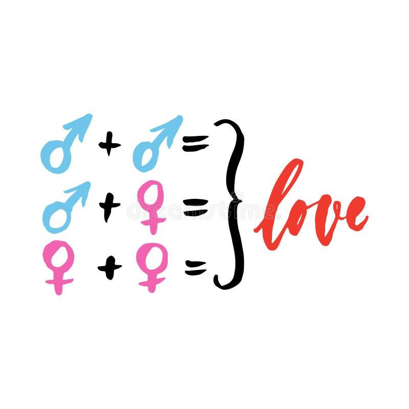 Amor - o homem e a mulher assinam dentro combinações diferentes, rotulação tirada mão isolada no fundo branco Inscrip da tinta da ilustração royalty free