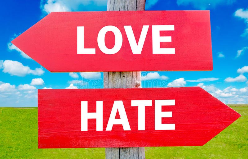 Amor ou ódio imagens de stock royalty free