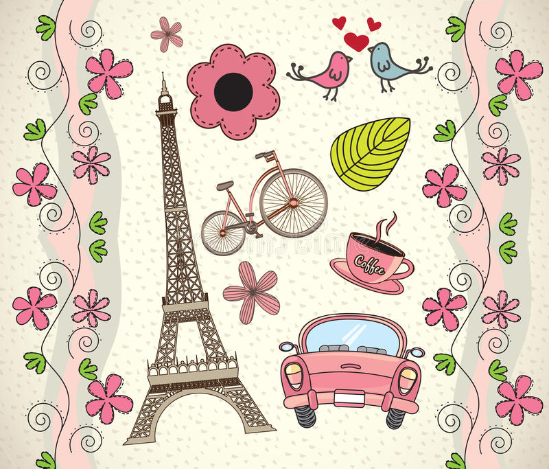 Amor París stock de ilustración