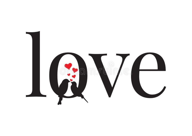 Amor, par de pássaros no amor, decalques da parede, exprimindo o projeto isolados no fundo branco ilustração royalty free