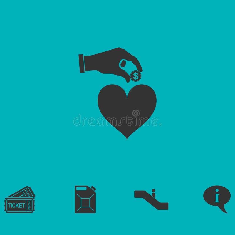 Amor para el icono del dinero plano libre illustration