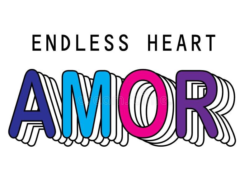 Amor para el lema de la camiseta stock de ilustración