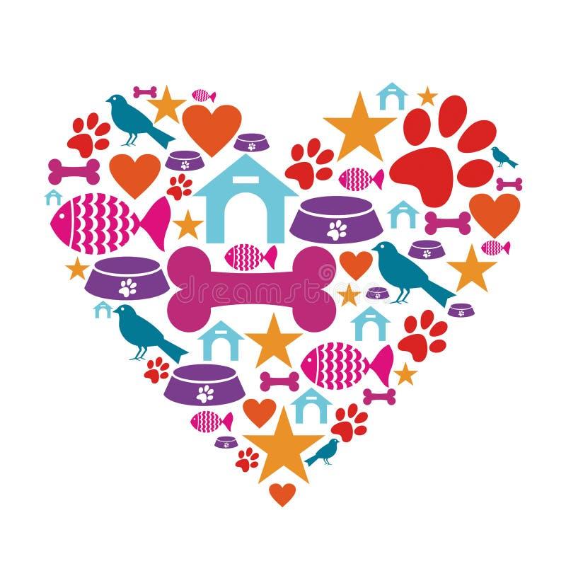Amor Para La Colección Del Icono De Los Animales Domésticos Imagenes de archivo