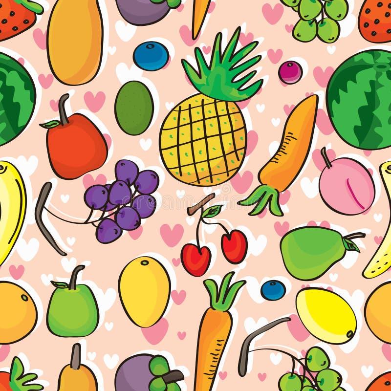 Amor Pattern_eps inconsútil de las frutas stock de ilustración