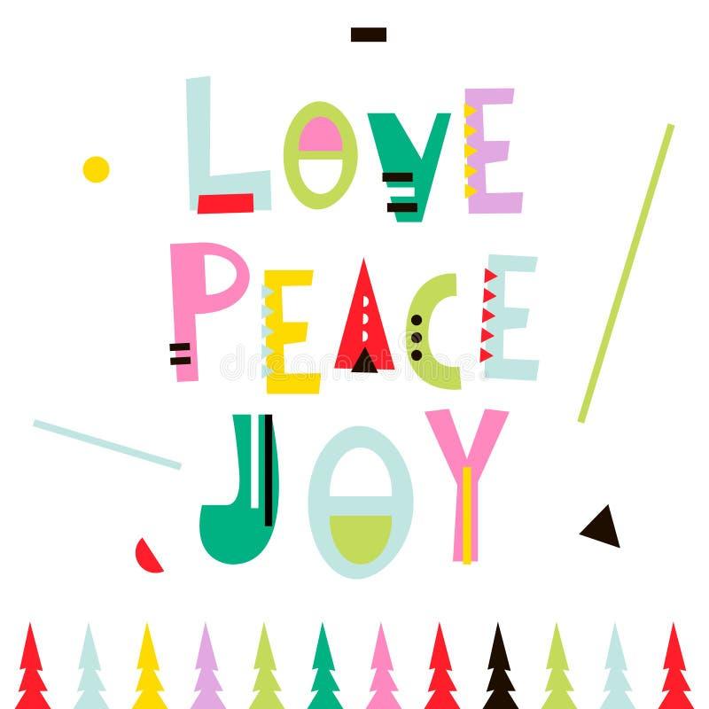 Amor, paz, alegría Fondo del saludo de la Navidad Plantilla del invierno del día de fiesta, tarjeta, bandera, cartel Ilustración  stock de ilustración