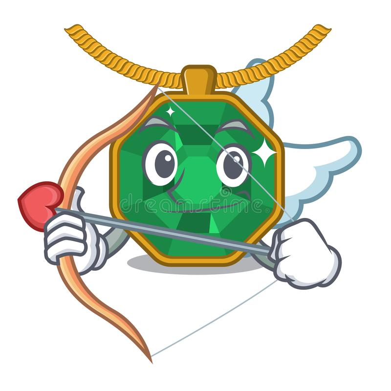 Amor Peridotschmuck lokalisiert im Maskottchen vektor abbildung