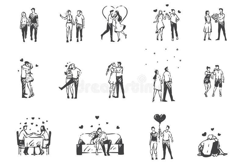 Amor, personagens apaixonados concebem esboço Vetor isolado desenhado à mão ilustração do vetor