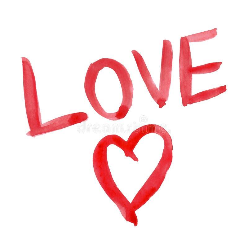 Amor pintado à mão vermelho da palavra da rotulação do coração e da mão do dia de Valentim da aquarela fotos de stock
