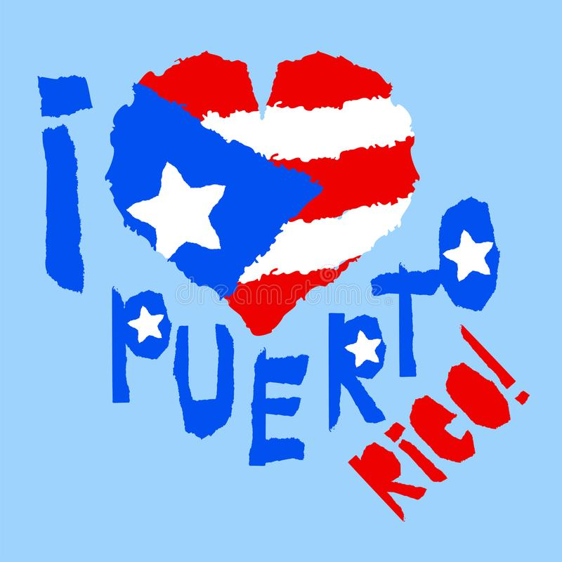 Amor Porto Rico, América Bandeira nacional do vintage na silhueta do estilo de papel rasgado coração da textura do grunge Backgro ilustração stock