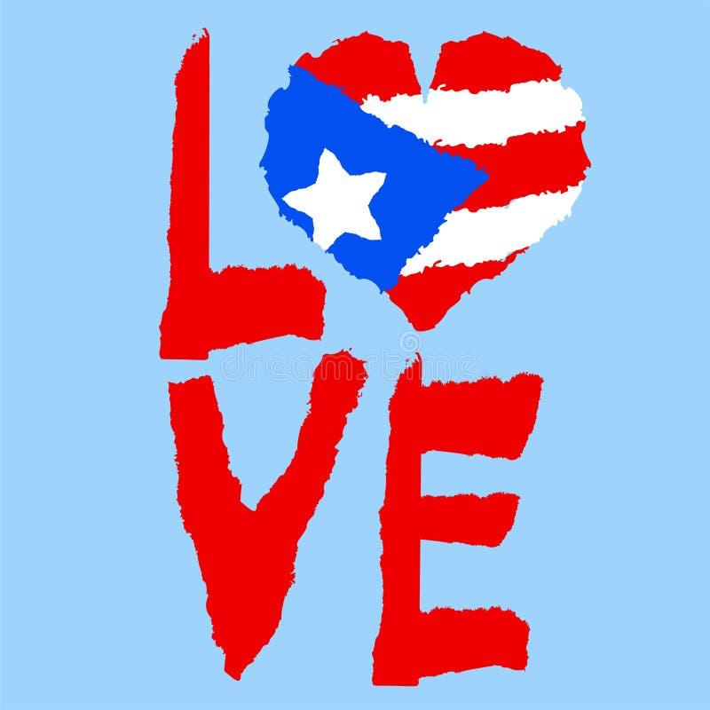 Amor Porto Rico, América Bandeira nacional do vintage na silhueta do estilo de papel rasgado coração da textura do grunge Backgro ilustração royalty free
