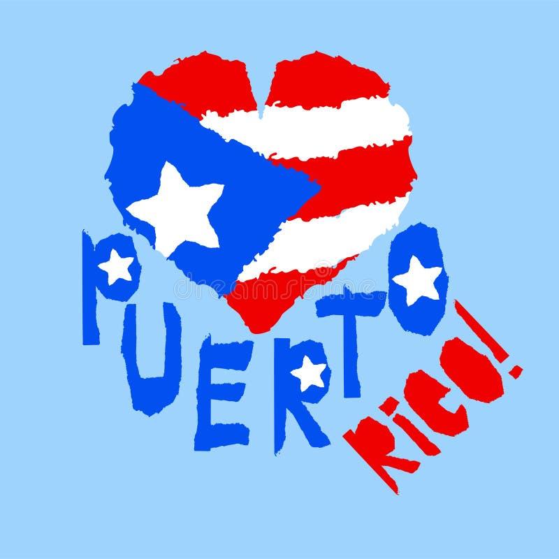 Amor Porto Rico, América Bandeira nacional do vintage na silhueta do estilo de papel rasgado coração da textura do grunge Backgro ilustração do vetor