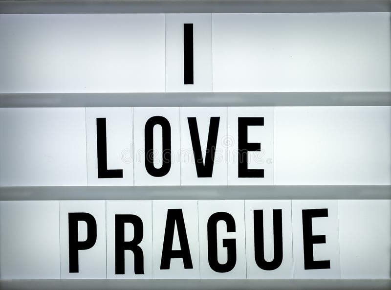 Amor Praga de la caja de luz i fotografía de archivo