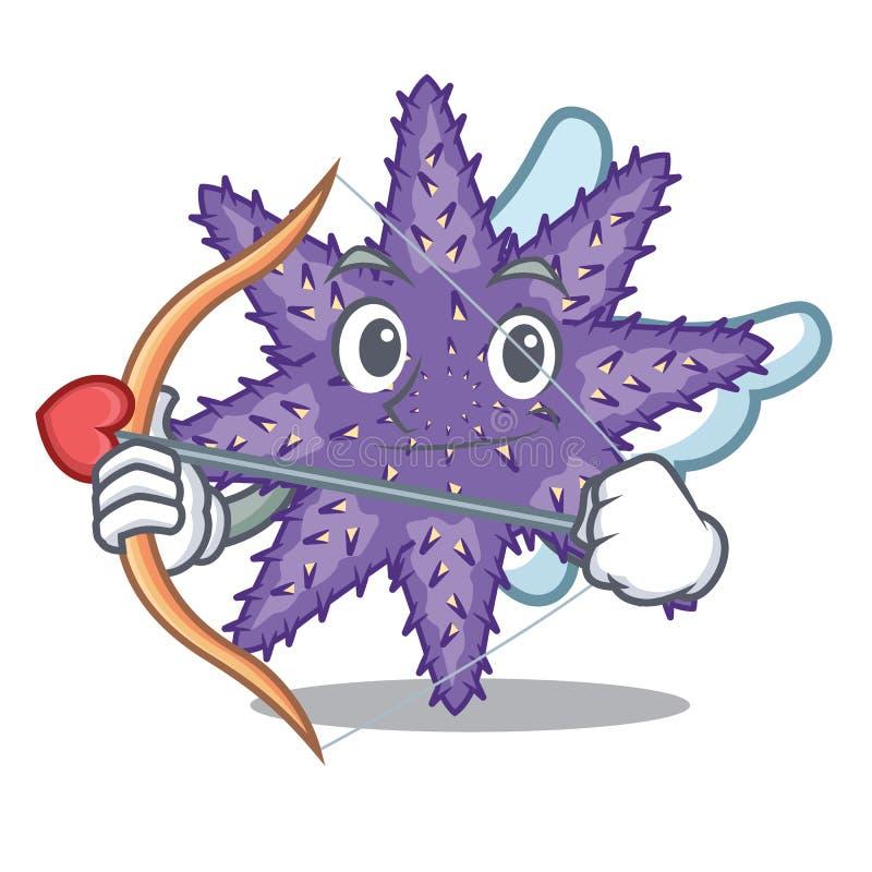 Amor purpurrote Starfish lokalisiert mit dem Maskottchen vektor abbildung