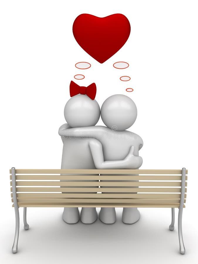 Amor que pensa abraçando os pares 2 ilustração stock
