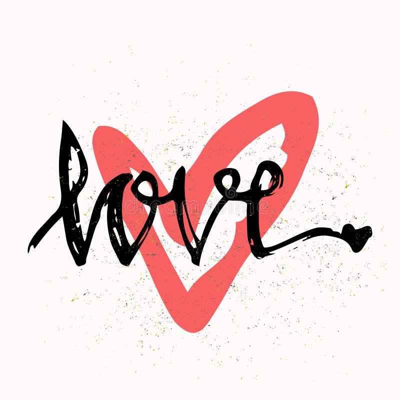 Amor Rotulação à moda da escova Elementos desenhados mão do projeto Aperfeiçoe o projeto para convites, cartões românticos da fot ilustração do vetor