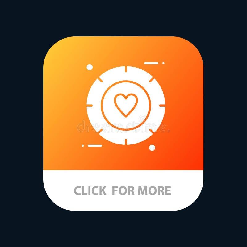 Amor, señal, tarjeta del día de San Valentín, botón móvil del App de la boda Android y versión del Glyph del IOS stock de ilustración